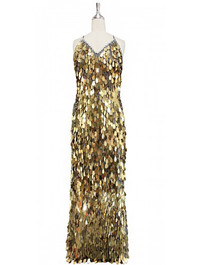 Long handmade sequin dress in unique tear-drop shaped gold paillette sequins with silver faceted beads and a luxe grey fabric background in a classic cut front view