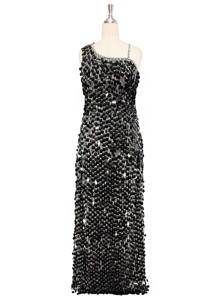 46ab7c5c29b3 A long handmade sequin dress, in 20mm black paillette sequins with silver  faceted beads and