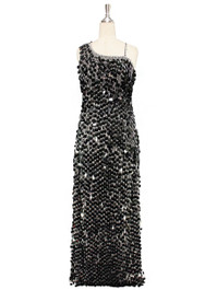 A long handmade sequin dress, in 20mm black paillette sequins with silver faceted beads and a luxe grey fabric background in a one-shoulder cut front view