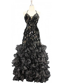 A long handmade sequin dress, in diamond-shaped black paillette sequins and black organza ruffles with spangles from SequinQueen front view.
