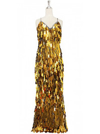 A long handmade sequin dress, in rectangular bullion gold paillette sequins with silver faceted beads and a luxe grey fabric background in a classic cut front view