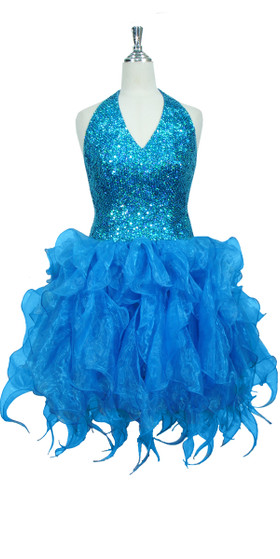 Handmade Round 8mm Sequin Short Dress in Hologram Turquoise with Turquoise Organza Skirt Front View