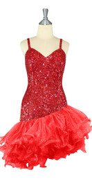 Short Handmade 8mm Cupped Sequin Dress in Hologram Dark Red with Organza Ruffled Diagonal Hemline front view