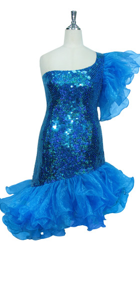 Short Handmade 10mm Flat Sequin Dress in Hologram Turquoise with One-shoulder Cut and Organza Skirt and Sleeve front view