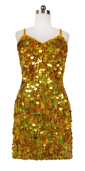 Short Handmade 20mm Paillette Hanging Sequin Dress in Hologram Gold front view