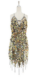 Short handmade sequin dress, in hologram gold paillette sequins with silver faceted beads, a luxe grey fabric background and jagged, beaded hemline front view.