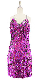 Short handmade sequin dress, in rectangular metallic fuchsia paillette sequins with silver faceted beads, a luxe grey fabric background and a straight hemline front view