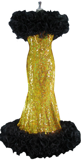 Long Handmade 10mm Flat Hologram Gold Sequin Gown with Black Organza Ruffles front view