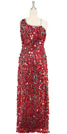 A long handmade sequin dress, in 20mm hologram red paillette sequins with silver faceted beads and a luxe grey fabric background in a one-shoulder cut front view