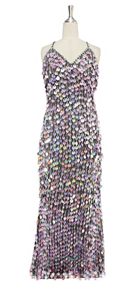 A long handmade sequin dress, in 20mm hologram lilac paillette sequins with silver faceted beads and a luxe grey fabric background in a classic cut front view