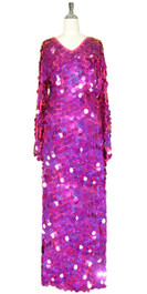 Long Handmade Paillette Sequin Gown in Hologram Fuchsia with Oversize Sleeves front view