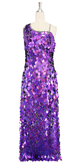 Long handmade sequin dress in jumbo hologram royal purple paillette sequins with silver faceted beads and a luxe grey fabric background front view