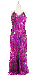 Long handmade sequin dress in rectangular hologram fuchsia paillette sequins with silver faceted beads and a luxe grey fabric background front view
