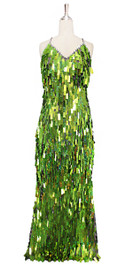 A long handmade sequin dress, in rectangular hologram olive green paillette sequins with silver faceted beads and a luxe grey fabric background in a classic cut front view