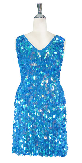 Short Handmade 20mm Paillette Hanging Sequin Dress in Pastel Iridescent Blue with V- Neck front view