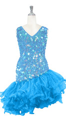 Short Handmade 20mm Paillette Hanging Iridescent Pastel Blue Sequin Dress with Diagonal Organza Hemline front view