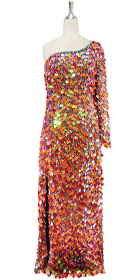 A long handmade sequin dress, in 20mm iridescent orange and watermelon paillette sequins with silver faceted beads and a luxe grey fabric background in a one-sleeve cut front view