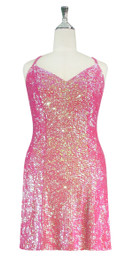 Short Handmade 8mm Cupped Sequin Gown in Iridescent Pink Front view