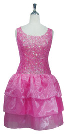 Short Handmade 8mm Cupped Sequin Dress in Transparent Pink with Organza Skirt front view