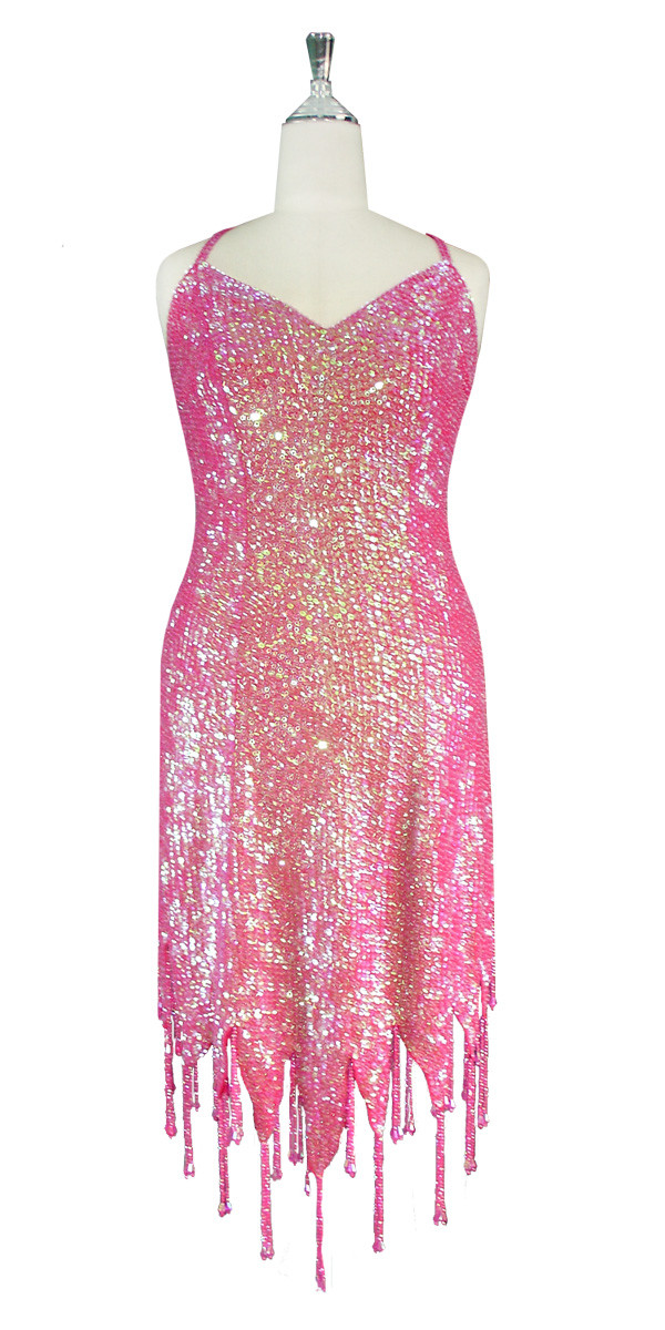 8311bfd5 Short Handmade 8mm Cupped Sequin Dress in Iridescent Pink with Jagged  Beaded Hemline front view