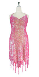 Short Handmade 8mm Cupped Sequin Dress in Iridescent Pink with Jagged Beaded Hemline front view