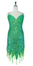 Short Handmade 8mm Cupped Sequin Dress in Iridescent Green with Jagged Beaded Hemline front view
