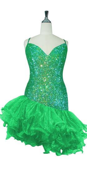 Short Handmade 8mm Cupped Sequin Dress in Iridescent Dark Green with Organza Ruffled Diagonal Hemline front view