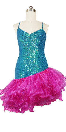 Short Handmade 8mm Cupped Sequin Dress in Iridescent Turquoise with Fuchsia Organza Ruffled Diagonal front view