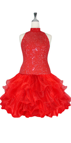 Short Handmade 8mm Cupped Sequin Dress in Red with Organza Ruffled Hemline and Chinese Collar Cut front view