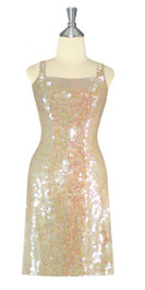 Short Handmade 10mm Flat Sequin Dress in Champagne Color front view
