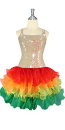 Short Handmade 10mm Flat Sequin Dress in Champagne Color with Multicolored Organza Skirt front view