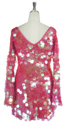Short Handmade 30mm Paillette Hanging Iridescent Pink Sequin Dress with V Neck and Oversized Sleeves Back View