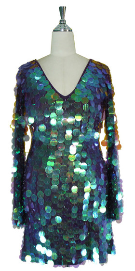 Short Handmade Paillette Sequin Dress in Iridescent Purple with Oversized Sleeves and V Neckline Front view