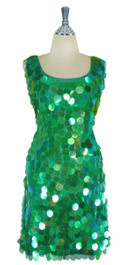 Short Handmade 30mm Paillette Hanging Iridescent Green Sequin Sleeveless Dress with U Neck front