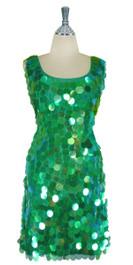 Short Handmade 30mm Paillette Hanging Iridescent Green Sequin Sleeveless Dress with U Neck front