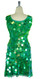 Short Handmade 30mm Paillette Hanging Iridescent Green Sequin Sleeveless Dress with U Neck back
