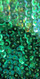Handmade Long Patterned Sequin Dress in Green 8mm Cupped Sequins with Split Skirt Close Up View