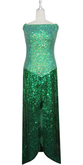 Handmade Long Patterned Sequin Dress in Green 8mm Cupped Sequins with Split Skirt Front View