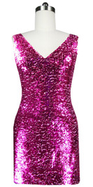 Sequin Fabric Short Dress in Fuchsia with Cowl Back Front View