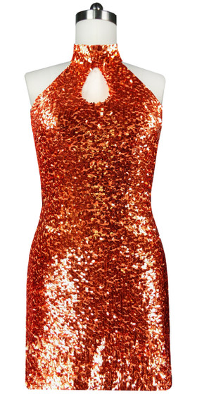 Sequin Fabric Short Dress in Copper with Keyhole Neckline Front View