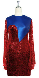 Short patterned dress with oversized sleeves in red sequin spangles fabric and blue stretch ITY fabric Front View