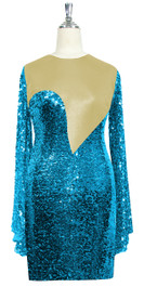 Short patterned dress with oversized sleeves in turquoise sequin spangles fabric and light gold stretch ITY fabric Front View