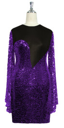 Short patterned dress with oversized sleeves in purple sequin spangles fabric and black stretch ITY fabric Front View