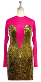 Short patterned dress with sleeves in gold sequin spangles fabric and fuchsia stretch fabric Front View