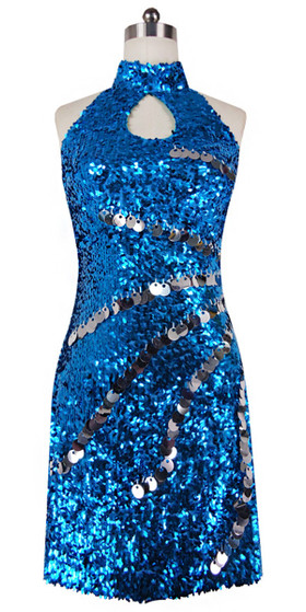 Short Dress With Chinese Collar In Turquoise Sequin Fabric With Hand Sewn Silver Metallic Sequin - front view