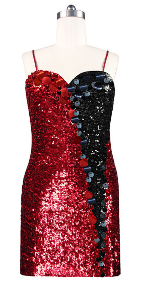 Short patterned dress in red and black sequin spangles fabric with highlight paillettes sequins front view