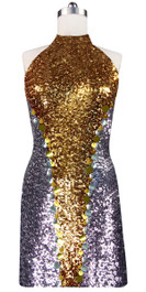 Short patterned dress in silver and gold sequin spangles fabric with Chinese collar front view