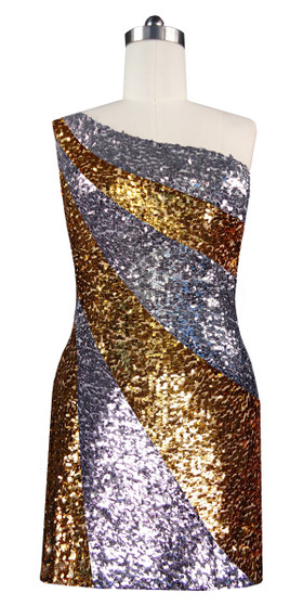 Short patterned dress in metallic silver and gold sequin spangles fabric in a one-shoulder cut front view
