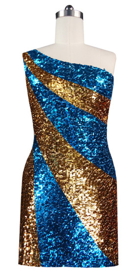 Short patterned dress in metallic turquoise and gold sequin spangles fabric in a one-shoulder cut front view
