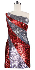 Short patterned dress in metallic silver and red sequin spangles fabric in a one-shoulder cut front view